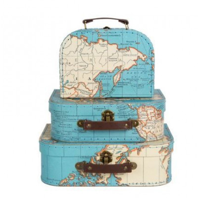 Vintage Map   Set of 3 Suitcases