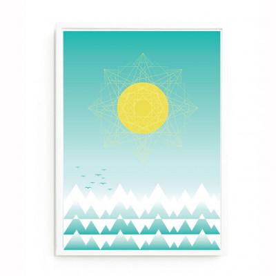 Sonne und Gebirge Druck