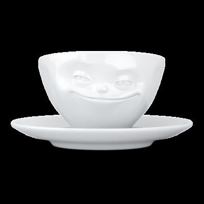 Grinsende Kaffeetasse und Untertasse   Weiß
