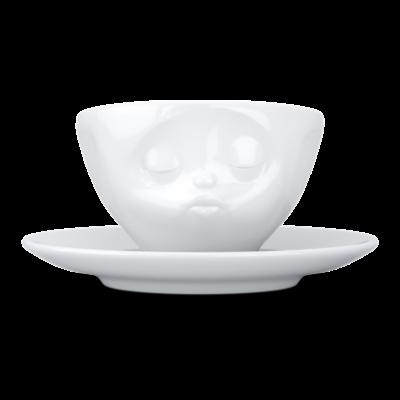 Küssende Kaffeetasse und Untertasse   Weiß