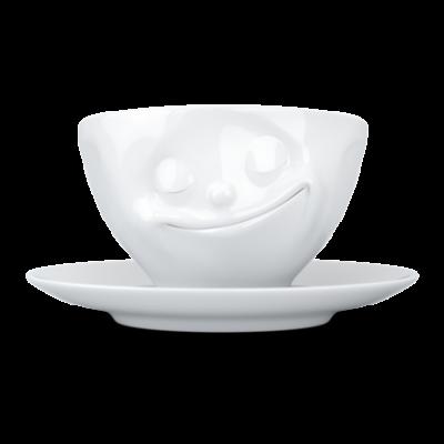 Kaffeetasse und Untertasse Glücklich   Weiß