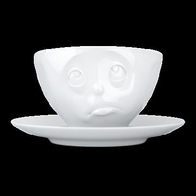 Kaffeetasse und Untertasse Oh bitte   Weiß