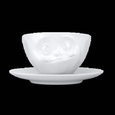 Kaffeetasse und Untertasse lecker   Weiß