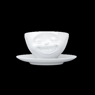 Kaffeetasse und Untertasse Lachen   Weiß