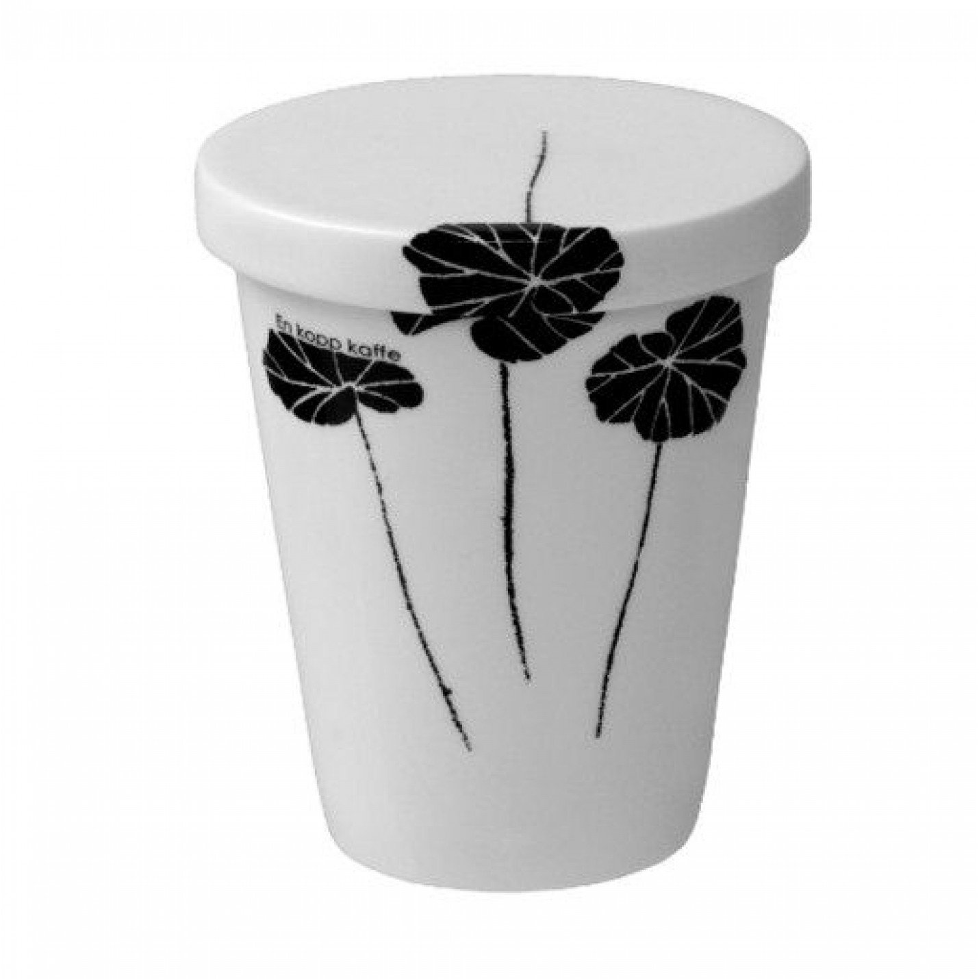 Take Away Cup with Plate/lid 40cl Black & White Leafs