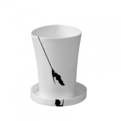 Tactil Cup with plate 35 cl White & Black