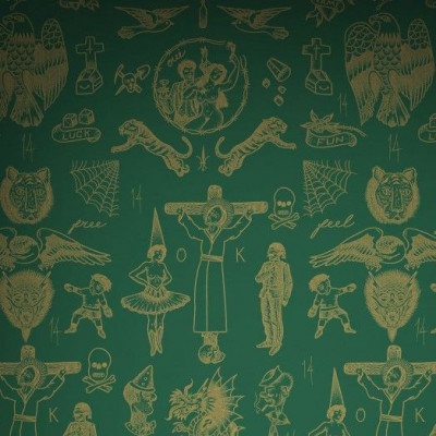 Wallpaper Tattoo Flash 01 | Green & Gold