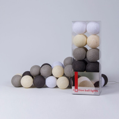 Cotton Ball Light String | Taupe