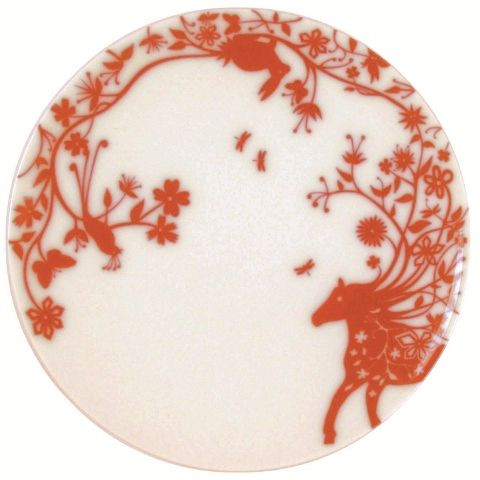 """Set of 6 flat plates """"Mohican Horse"""" Red"""