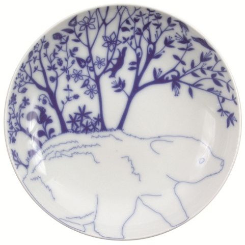 """Set of 6 deep plates """"Beer in Mountain"""" Blue"""