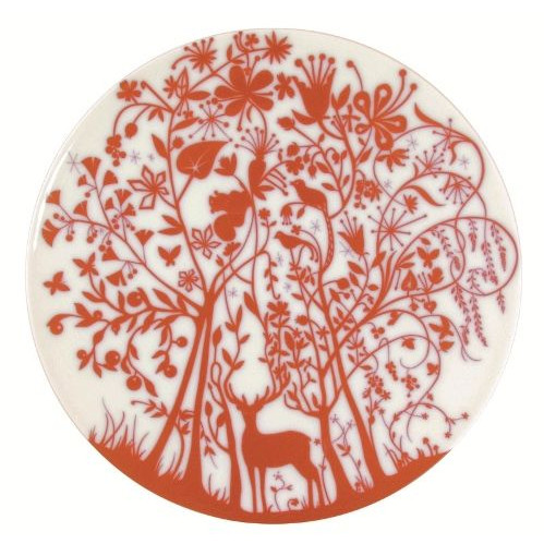 """Set van 2 platte borden """"Deer In the Forest"""" Rood"""