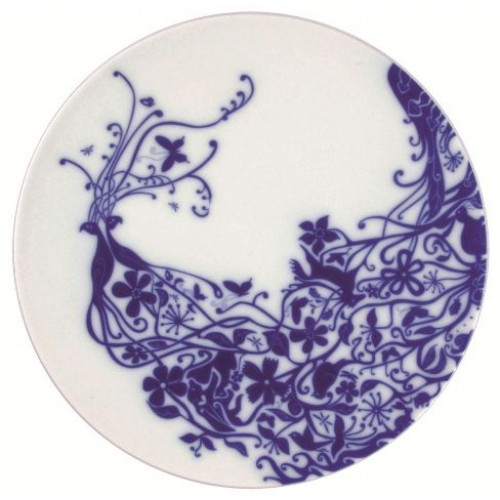 "Set of 6 flat plates ""Peacocks"" Blue"