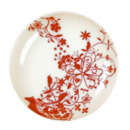 """Set of 6 deep plates """"Horse and Animal"""" Red"""