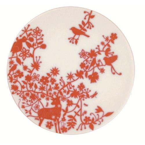 """Set van 6 platte borden """"Deer Antlers"""" Rood"""