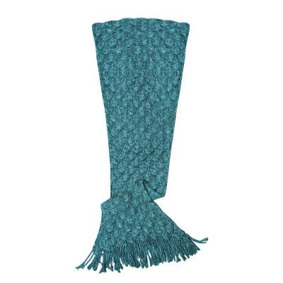 Knit Mermaid Tail Blanket (Womens / Teen)   Teal
