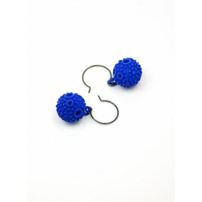 Strukturierte Kugel-Ohrringe - Blau