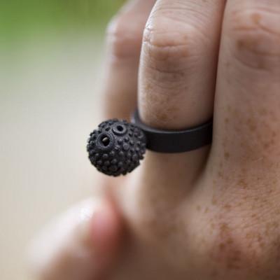 Strukturierter Kugelring - Schwarz