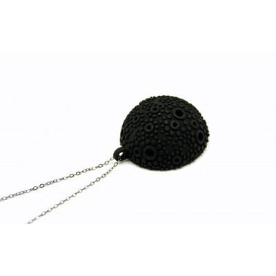 Strukturierte Kuppel-Halskette - schwarz