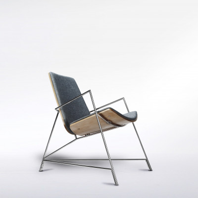 Thale Lounger   Steel Frame & Grey Upholstery
