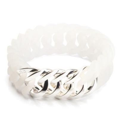 Circle Bracelet  25mm   Milky White & Platin Silver