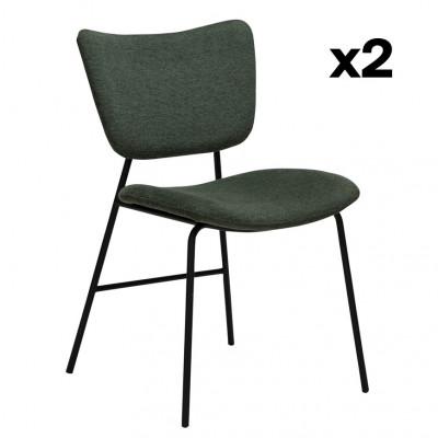 2er Set Stühle Thrill | Salbeigrün & Schwarze Beine