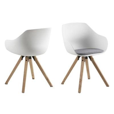 Stuhl Tonta | 2er-Set | Holz, weiß & hellgrau