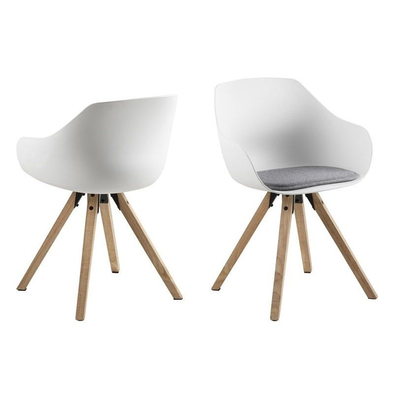 Set of 2 Chairs Tonta | Wood, White & Light Grey