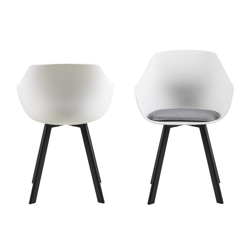 Set of 2 Chairs Tonta  | Black, White & Light Grey