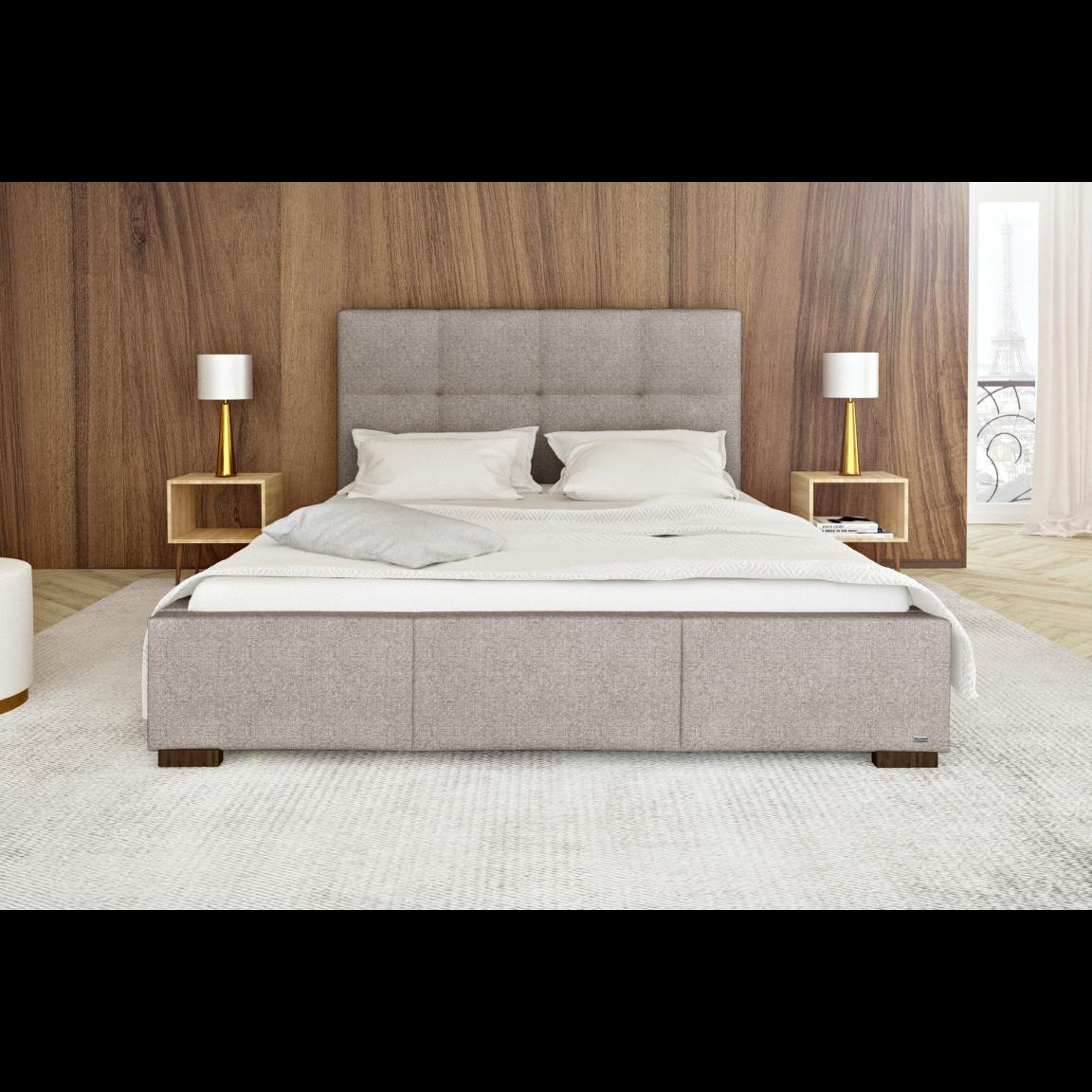 Gepolstertes Bett Cobalt mit Staumöglichkeit | Beige-140 x 200 cm