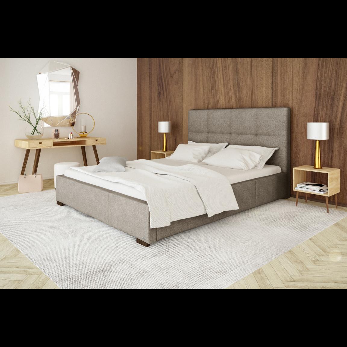 Gepolstertes Bett Cobalt mit Staumöglichkeit   Braun-140 x 200 cm