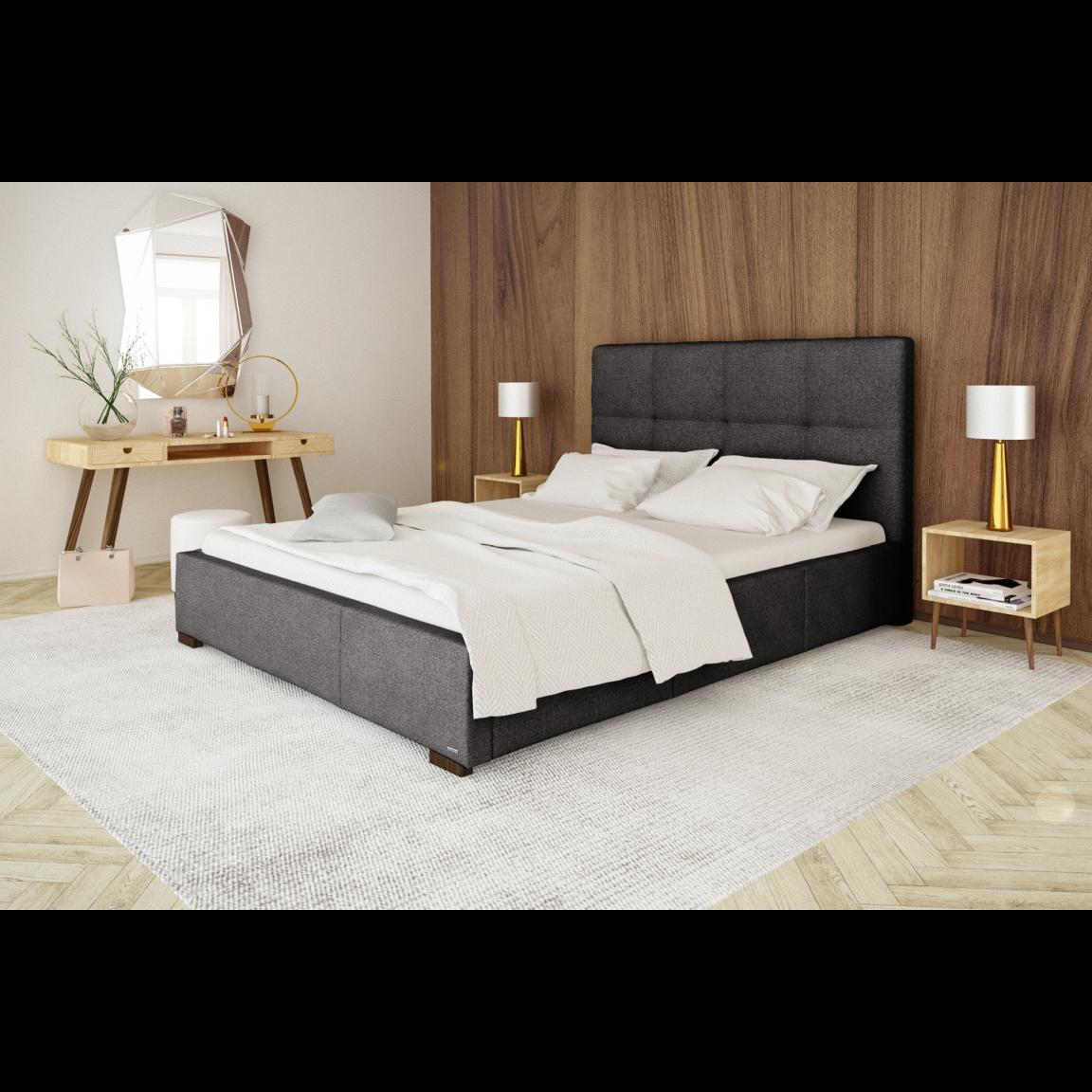 Gepolstertes Bett Cobalt mit Staumöglichkeit   Dunkelgrau-140 x 200 cm
