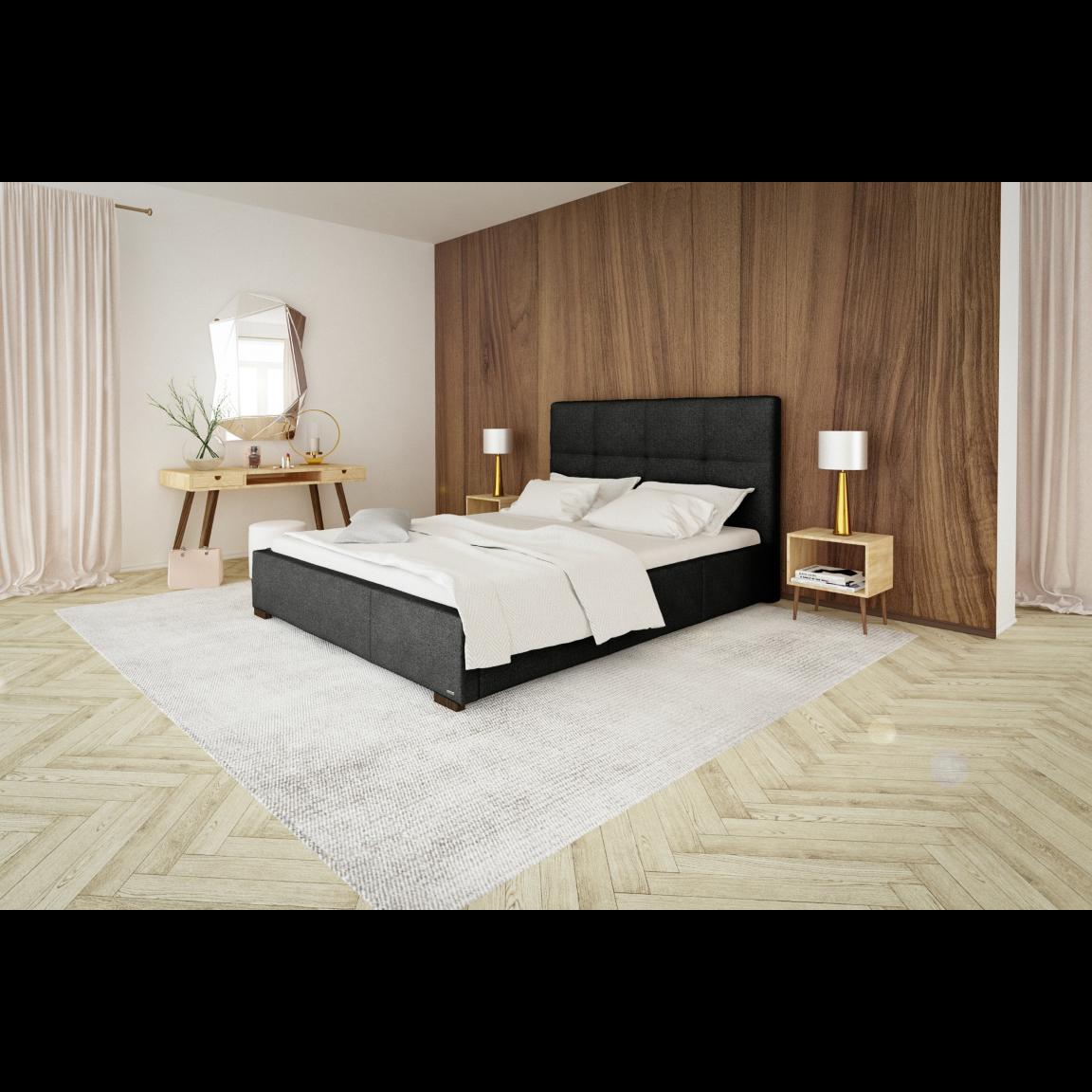Gepolstertes Bett Cobalt mit Staumöglichkeit   Schwarz-140 x 200 cm