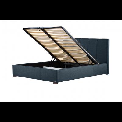 Gepolstertes Bett Onyx mit Staumöglichkeit | Marineblau