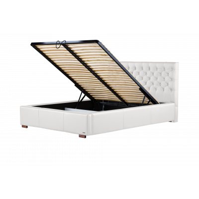 Gepolstertes Bett Amethyste mit Staumöglichkeit | Weiß