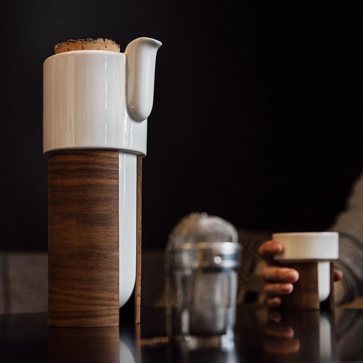WARM TeaPot/Coffee Pot Large | White/Walnut