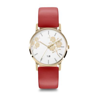 Frauen-Uhr Bloom 34 Leder   Gold//Weiß/Rot