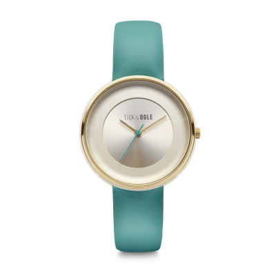 Frauen-Uhr Pastellcreme 36   Türkis