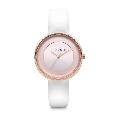 Frauen-Uhr Bloom 36 Leder   Rose/Weiß