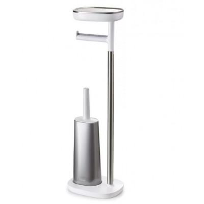 Toilettenpapierhalter / Toilettenbürste mit kleinem Stauraum | Weiß