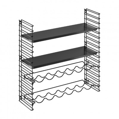 Weinregal & Wandregal 2 Rahmen & 2 Regale | Schwarz
