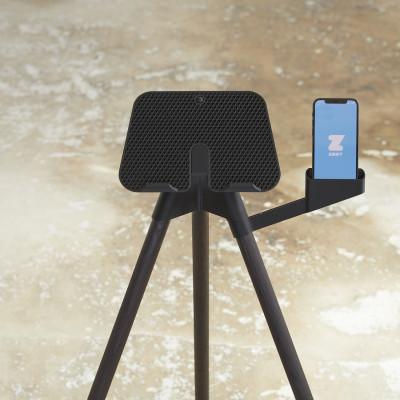 iPad-Ständer mit Smartphone-Halterung   Dunkle Eiche