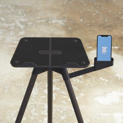Laptop-Ständer mit Smartphone-Halterung   Dunkle Eiche