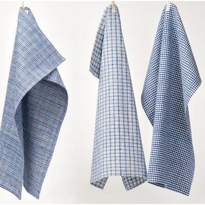 Set of 3 Kitchen Towels Indigo Blue