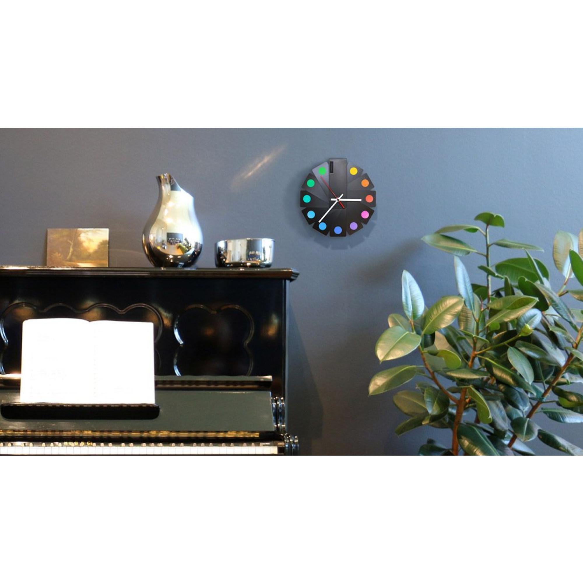 Desk/Wall Foldable Analog Clock Transformer | Black & Spots