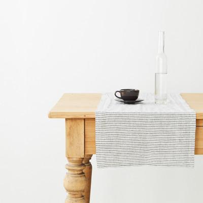 Tischläufer 150 x 40 cm | Dünner schwarzer Streifen