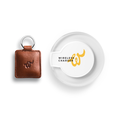 Woolet Tracker + QI Charger   Cognac