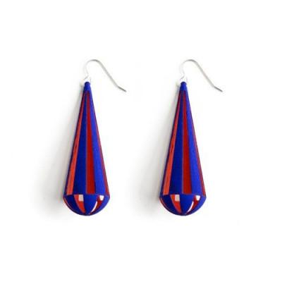 Tribù Earrings Bicolour | Blue/Orange Red