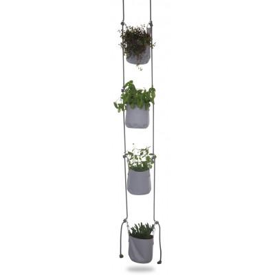 Pflanztasche mit Aufhängung 4er-Set | Grau