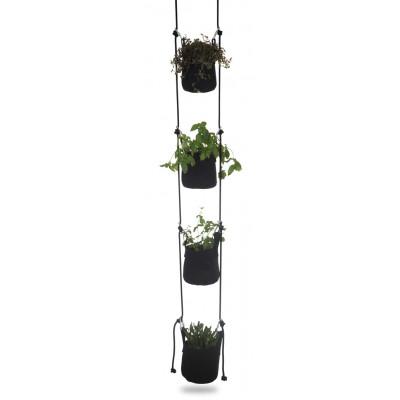 Pflanztasche mit Aufhängung 4er-Set | Schwarz