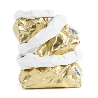 Metallic-Papiertüte | Gold & Weiß